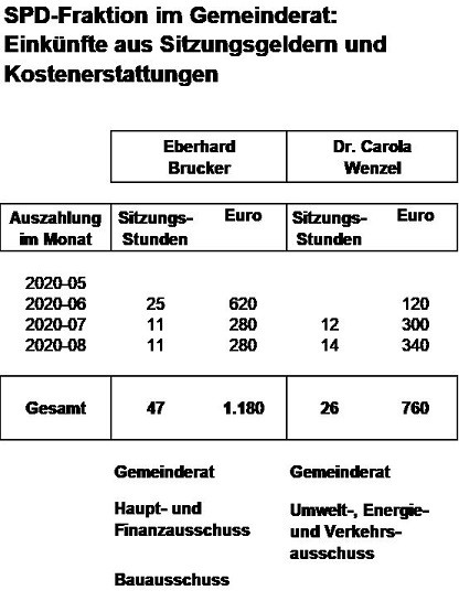 SPD-Fraktion im Gemeinderat - Einkünfte